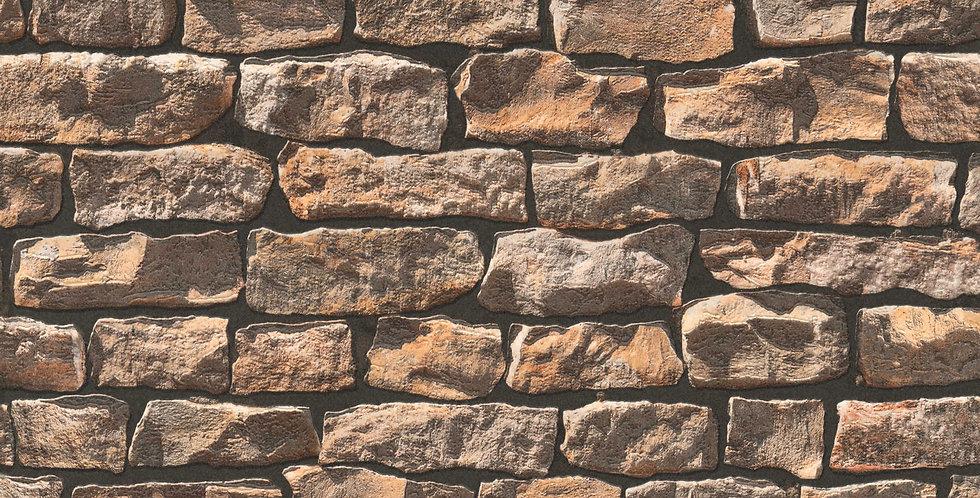 Tapet in stil rustic imita zidul din piatra in nuante de maro si negru