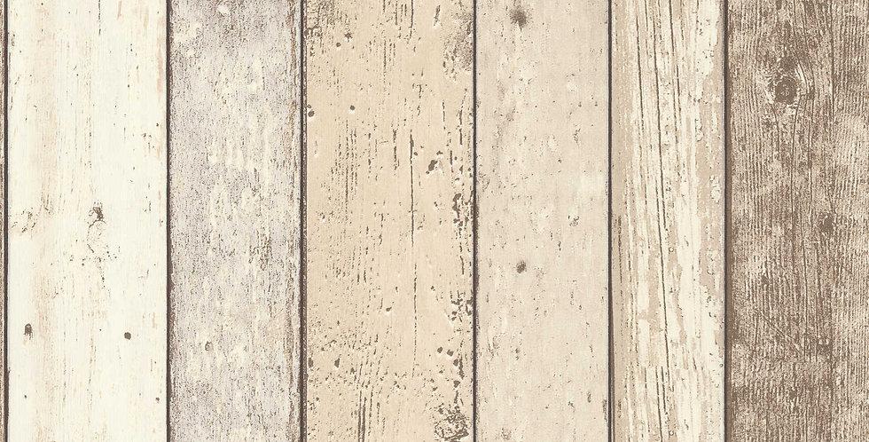 Tapet care imita lambriul din lemn vechi vopsit in nuante de maro si bej