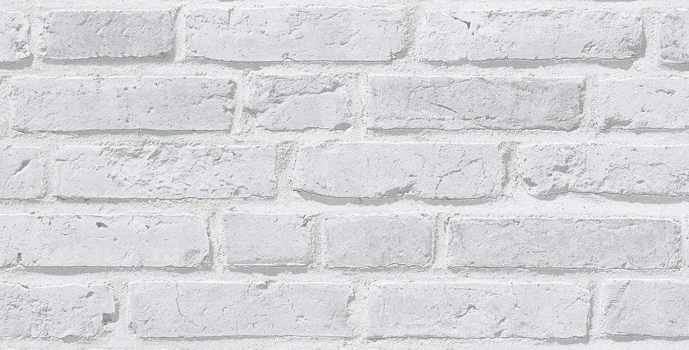 Tapet care imita caramida aparenta in nuante de gri si alb