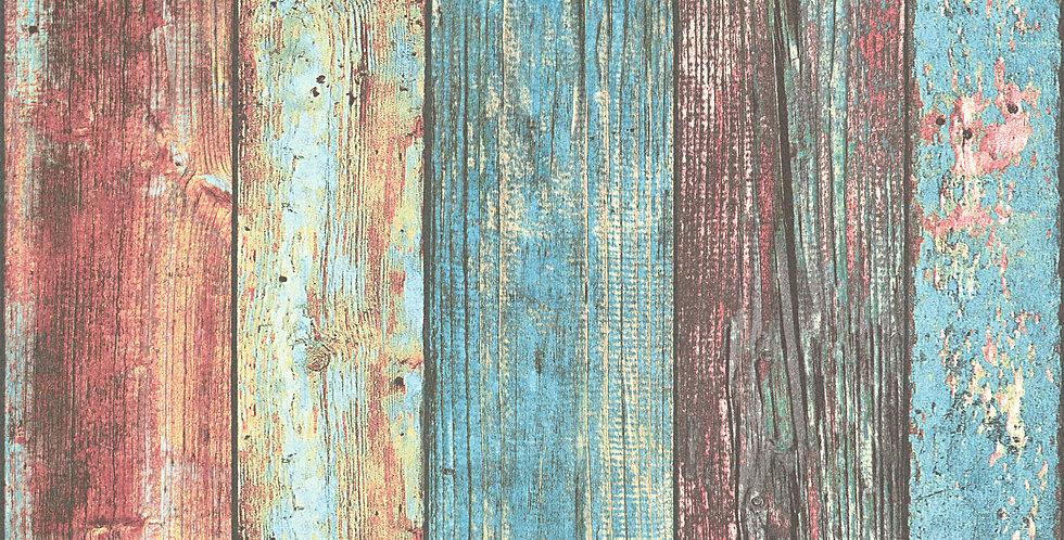 Tapet imitatie lemn rosu vopsit in degrade cu albastru si crem