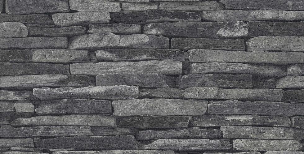 Tapet in stil rustic, imita piatra decorativa in nuante de gri