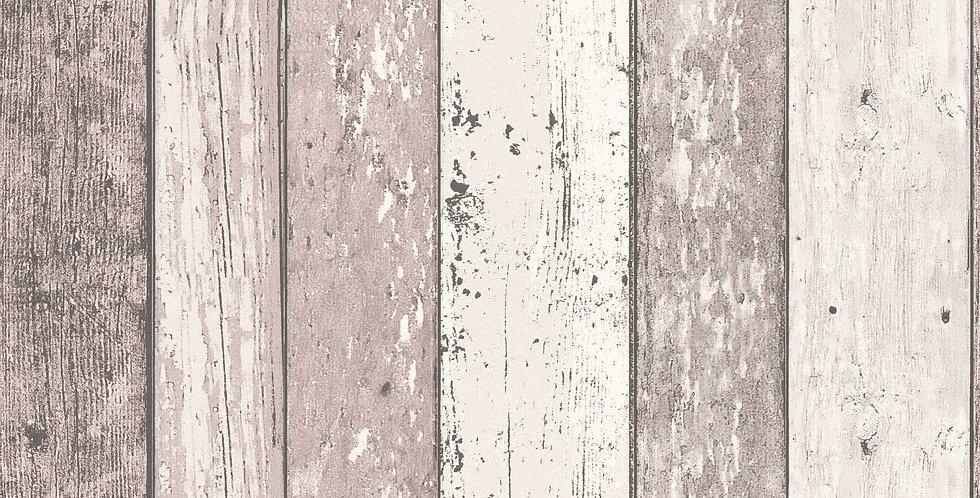 Tapet care imita lambriu din lemn vechi in nuante de bej, gri, maro