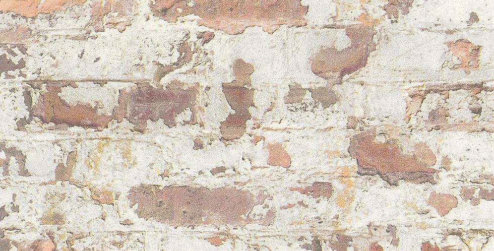 Tapet care imita zidaria din caramida rosie, maronie vopsita cu alb