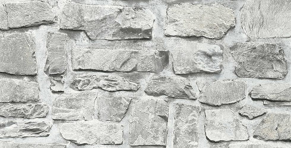 Tapet care imita zidaria cu tencuiala si piatra aparenta in nuante de gri