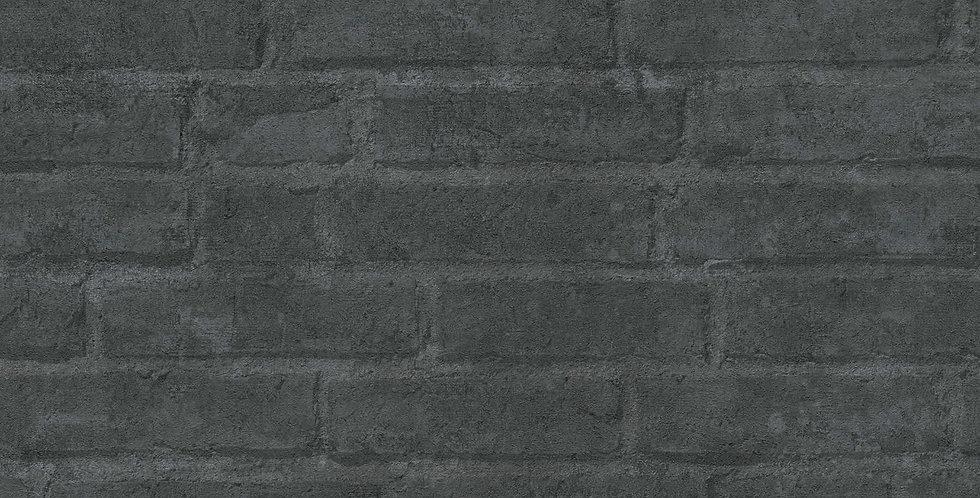 Tapet cu model grafic care imita zidaria de caramida in nuante de negru