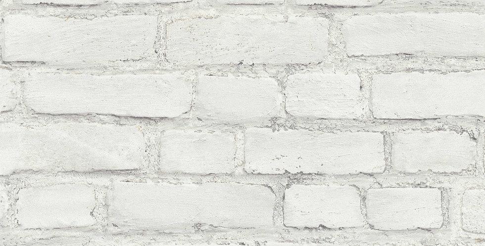 Tapet care imita zidaria din caramida in nuante de alb si gri