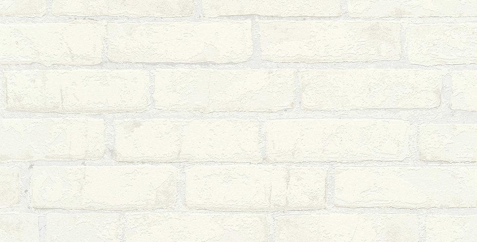 Tapet care imita zidaria din caramida in nuante de alb si finisaje satinate