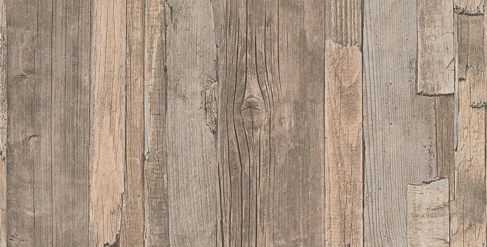 Tapet in stil vintage imita in mod natural lemnul in nunante de maro si bej