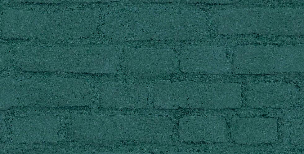 Tapet care imita zidarie din caramida vopsita verde turcoaz