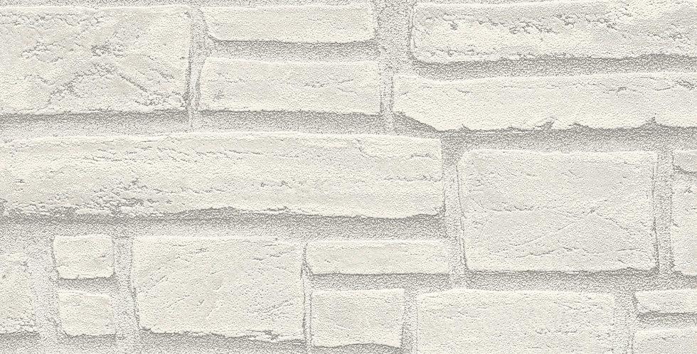 Tapet care imita zidaria cu caramida in relief in nuante de alb si gri deschis