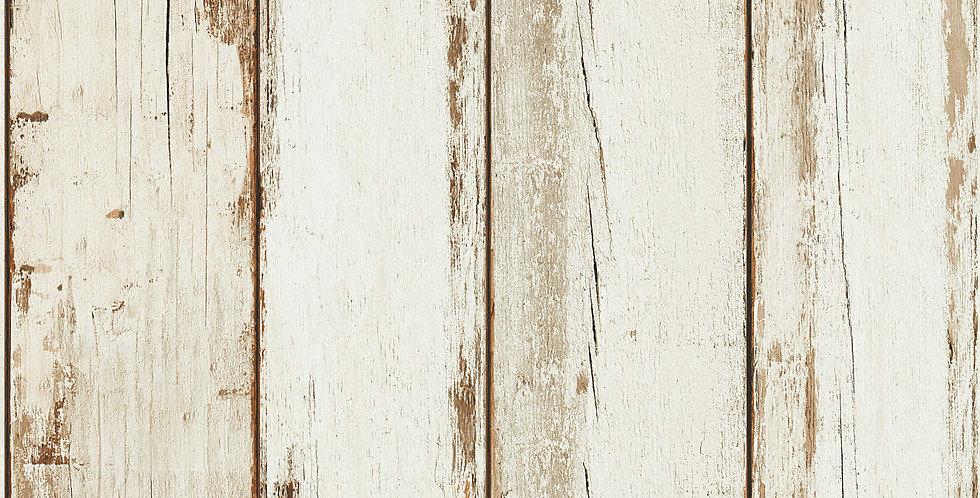 Tapet care imita scanduri de lemn in nuante de alb si bej