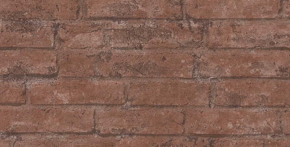 Tapet care imita zidaria de caramida in nuante de rosu inchis