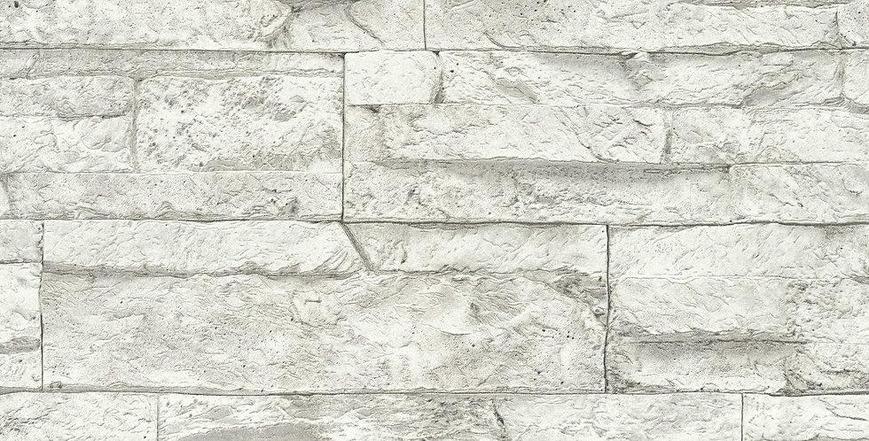 Tapet care imita zidaria din piatra decorativa, in nuante de gri deschis