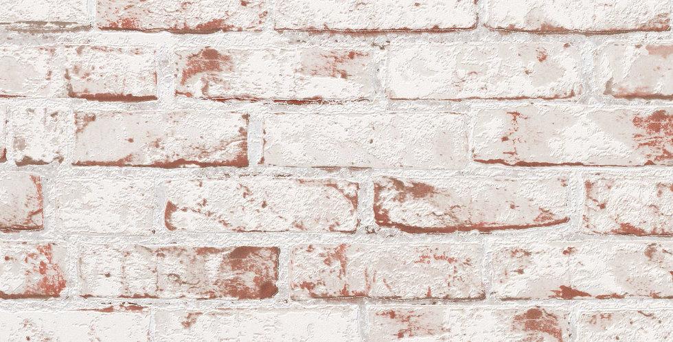 Tapet in stil rustic care imita zidaria din caramida in nuante de alb si rosu