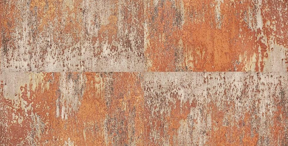 Tapet imitatie placi de fier oxidat in nuante de rosu, maro si crem