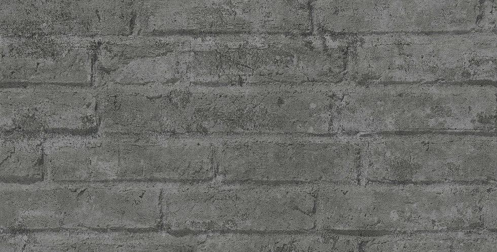 Tapet cu model grafic care imita zidaria de caramida in nuante de gri inchis