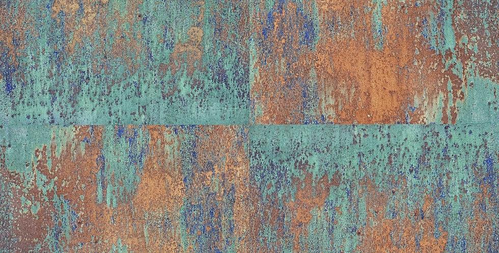 Tapet imitatie de cuprul oxidat in nuante de aramiu, verde si albastru