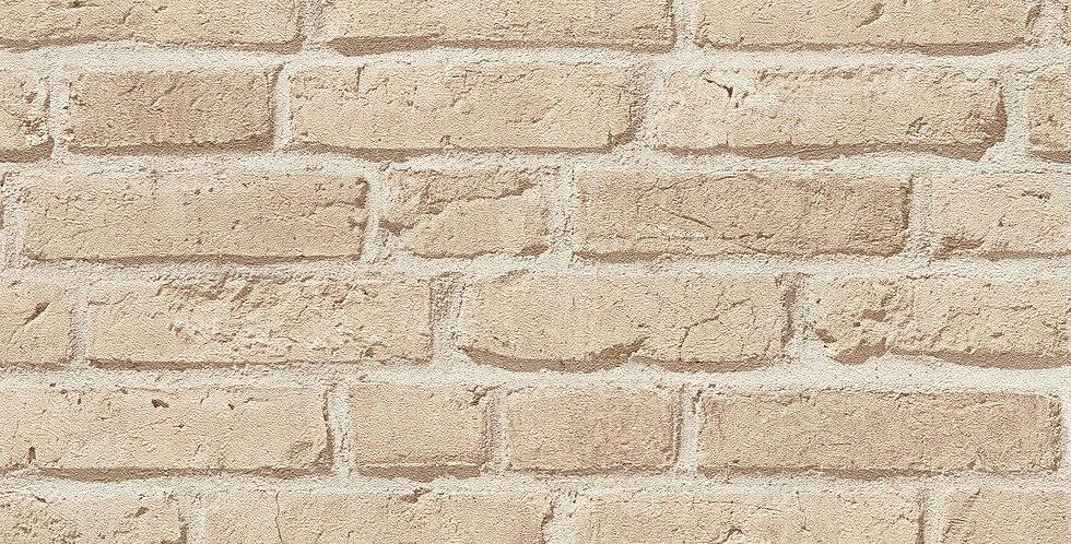 Tapet imitatie zidarie din caramida cu efect 3D in nuante de maro deschis