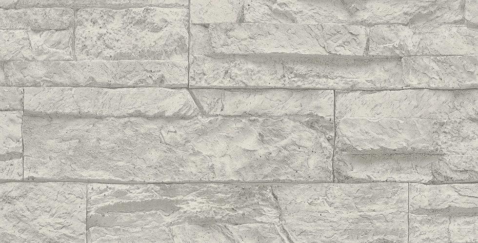 Tapet care imita zidaria din piatra decorativa, in nuante de gri