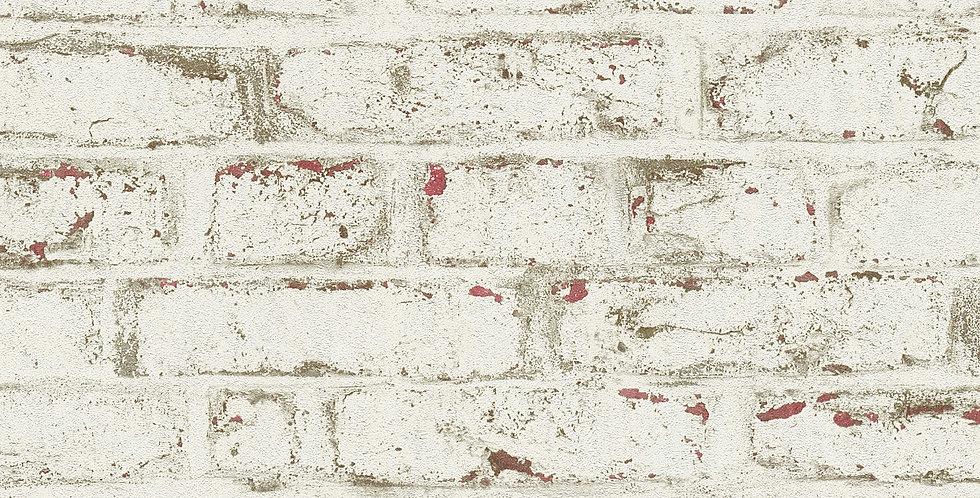 Tapet care imita zidaria din caramida in nuante maronii, vopsita alb si bej