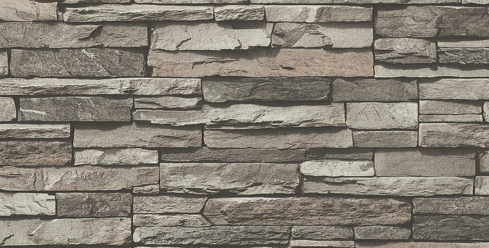 Tapet care imita piatra decorativa in nuante de gri, maroniu si negru