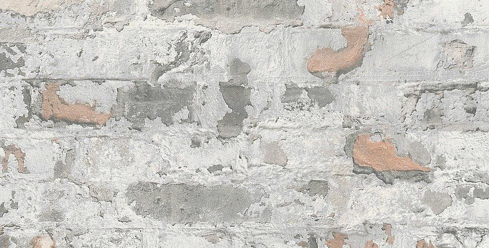 Tapet care imita zidaria din caramida aparenta in nuante gri si maro