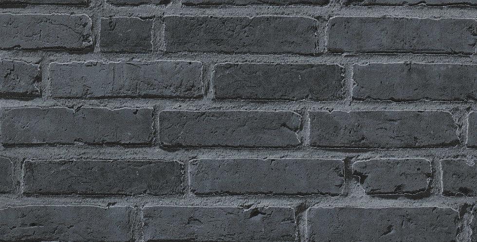 Tapet care imita caramida aparenta in nuante de gri si negru