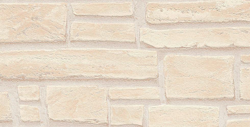 Tapet care imita zidaria cu caramida in relief in nuante de alb si crem