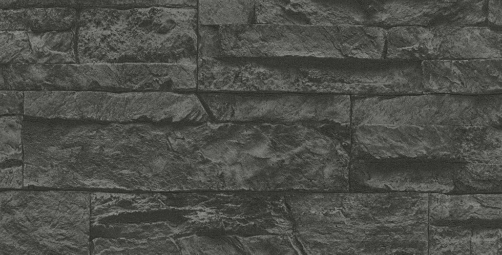 Tapet care imita zidaria din piatra decorativa, in nuante de negru si gri