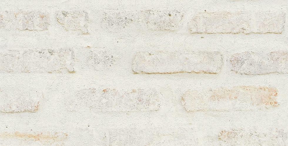 Tapet care imita zidaria de caramida vopsita in nuante crem