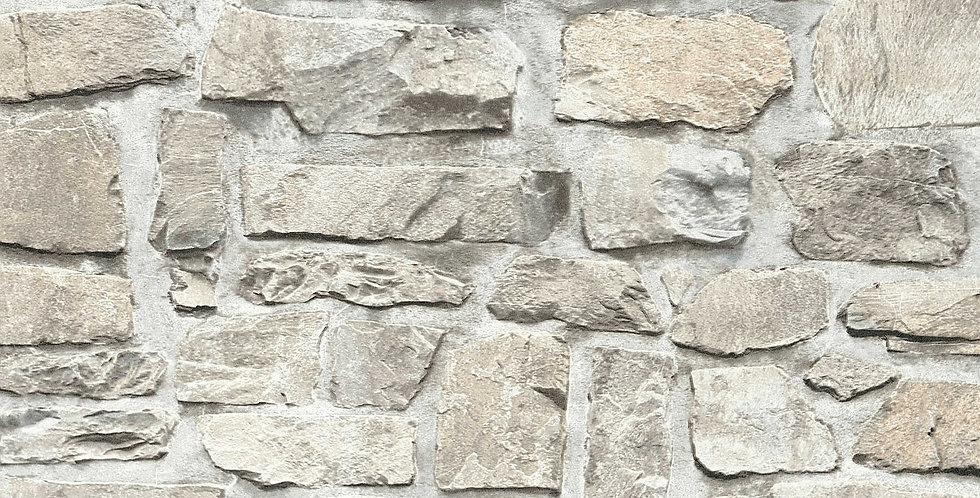 Tapet care imita zidaria cu tencuiala si piatra aparenta in nuante de gri si bej