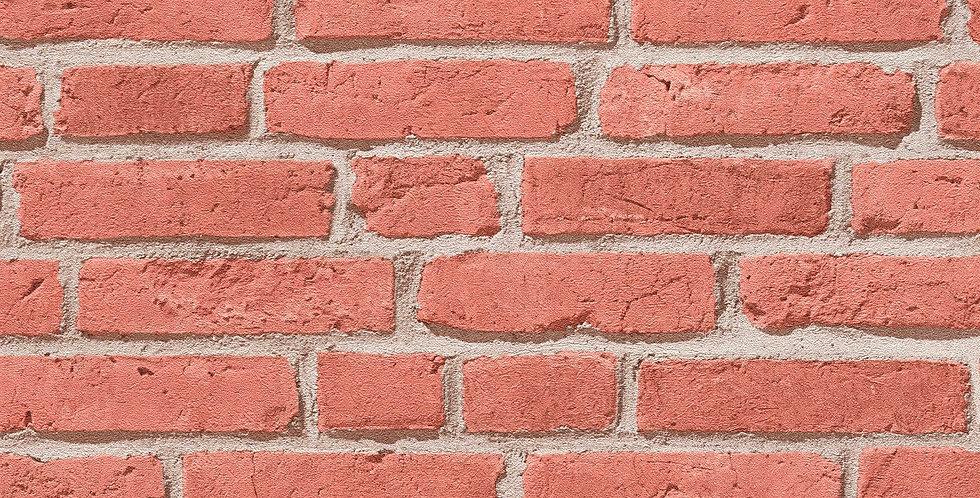 Tapet imitatie zidarie din caramida cu efect 3D in nuante de rosu