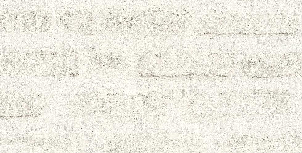 Tapet care imita zidaria de caramida vopsita in nuante crem cu insertii gri
