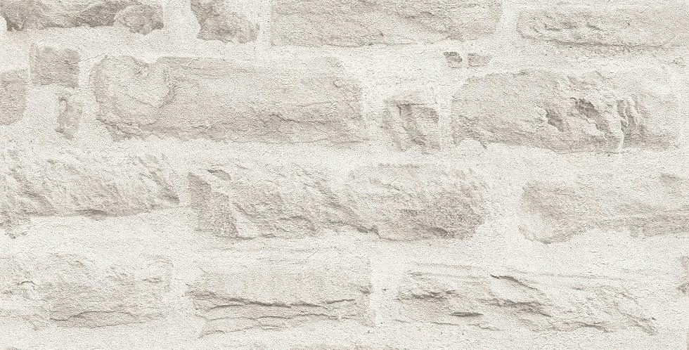 Tapet imitatie zidarie din caramida in nuante de gri deschis