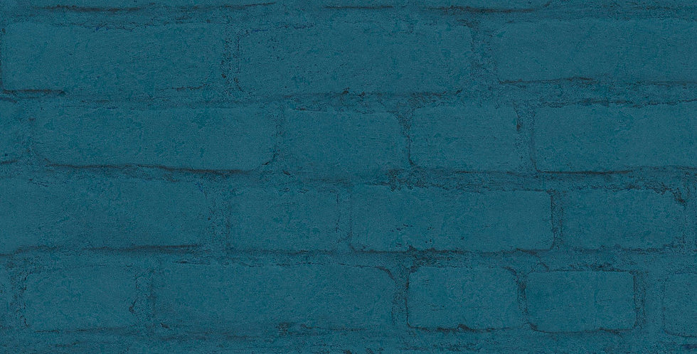 Tapet care imita zidarie din caramida vopsita albastru turcoaz
