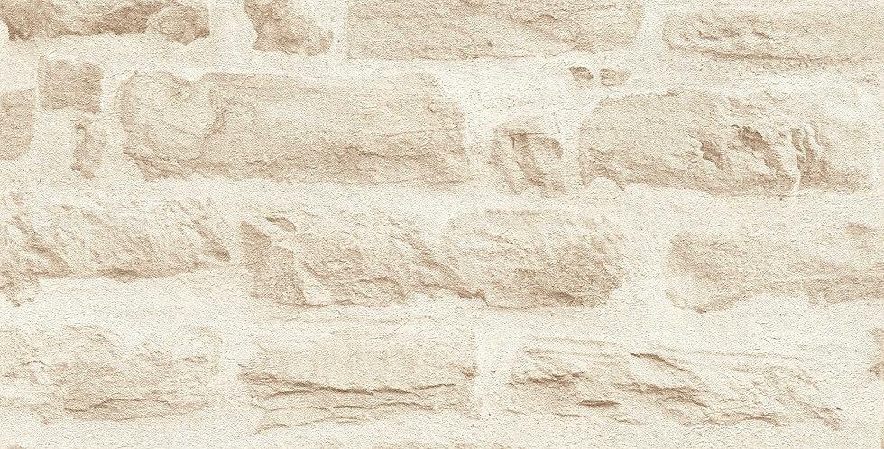 Tapet imitatie zidarie din caramida in nuante de crem