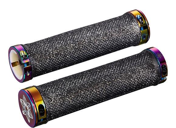 SUPACAZ - Diamond Kush Grips: Black with Oil Slick DH Star Ringz