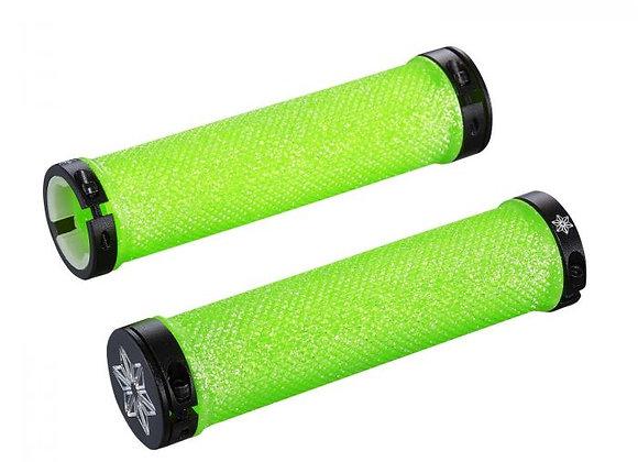 SUPACAZ - Diamond Kush Bar Grips Neon Green w/ Black DH Star Ringz