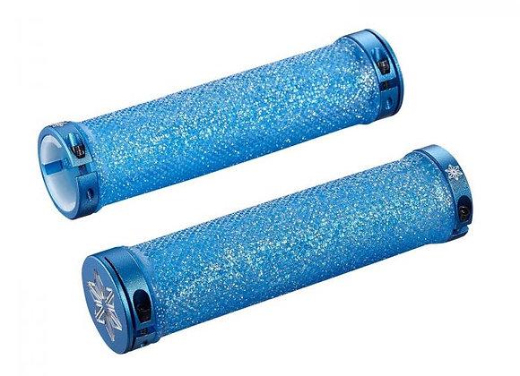 SUPACAZ - Diamond Kush Bar Grips Neon Blue w/ Blue DH Star Ringz
