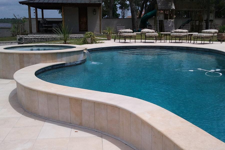 Outdoor pool granite installation