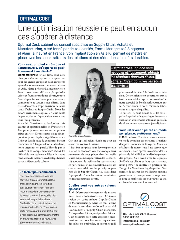 Optimal Cost in French magazine L'Express | Optimal Cost - Supply
