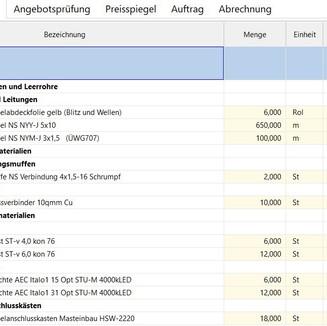 Material Leistungsverzeichnis