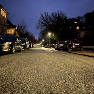 Anliegerstraße mit LED Beleuchtung