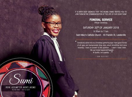 Support for Akumu's family for the loss of their loved one 'Irene Assumpter Akumu (Sumi)'
