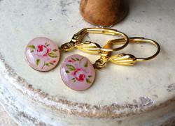 Pink Rose Earrings 2