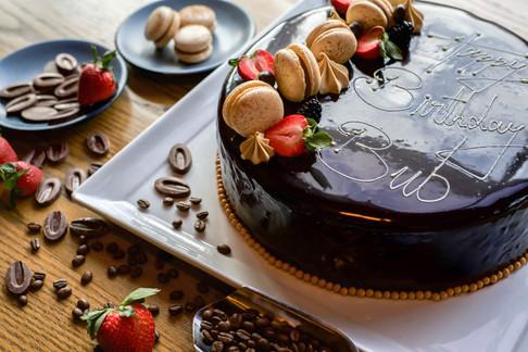 Wide choc cake with macrns, strwbry,chocand coff.jpg