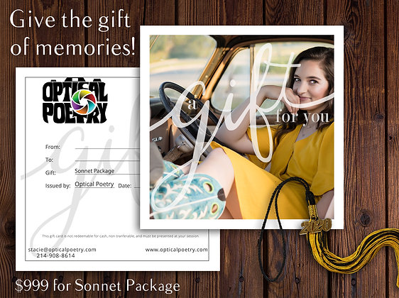 Sonnet Package Gift Certificate