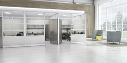 Evolve Tiled Glass Offices with Doors