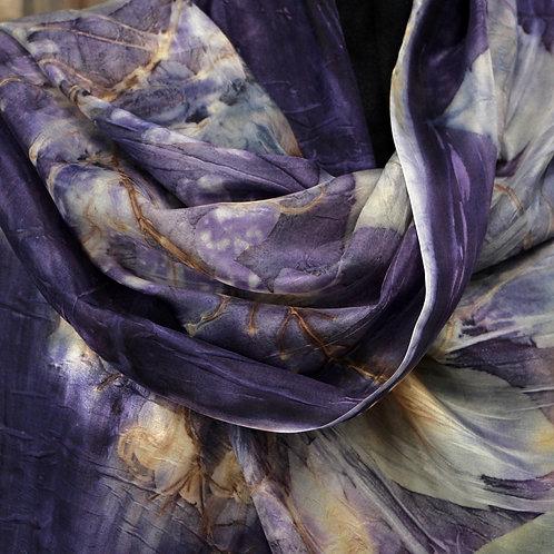 Large silk scarf Atufa*  printed with Cassia Fistula leaves