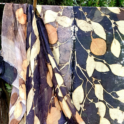 Silk chiffon scarf eco-printed with eucalyptus leaves